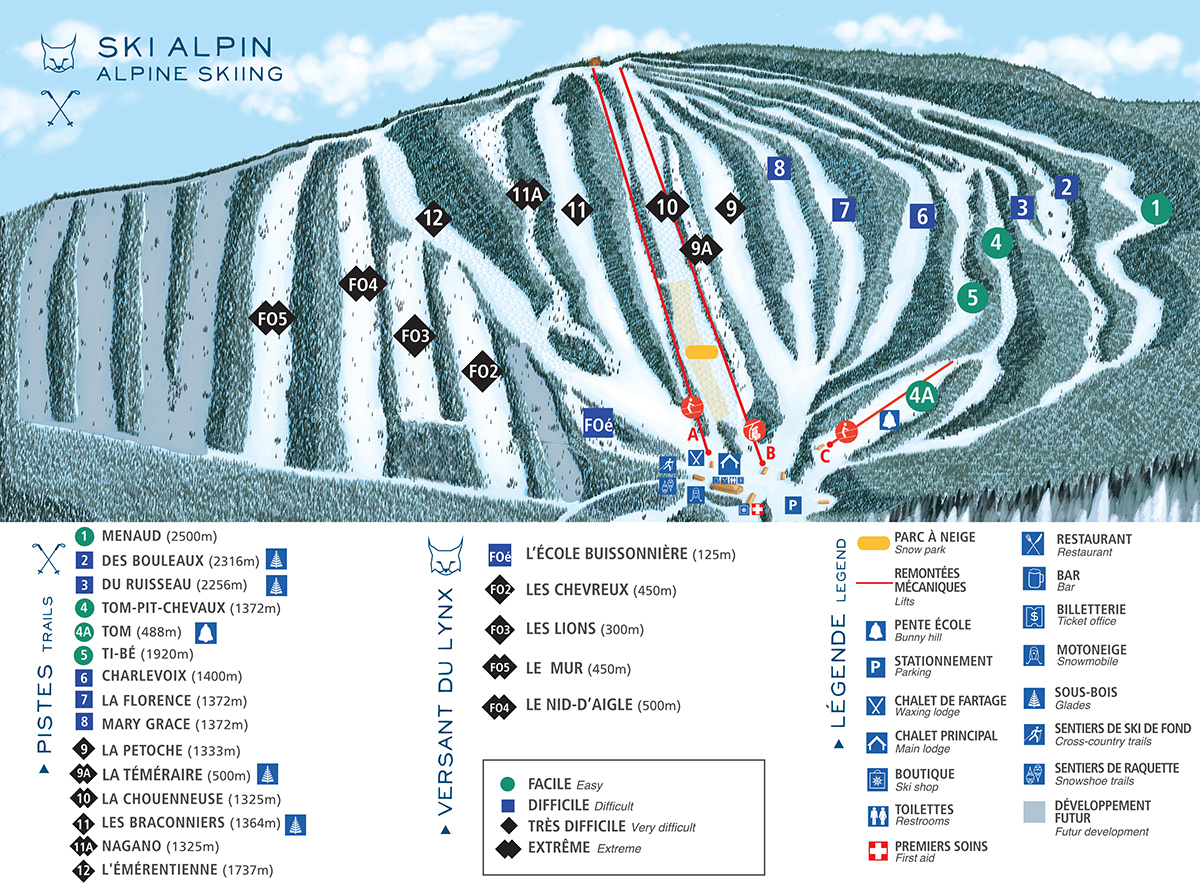 Carte des pistes de ski alpin du Mont Grand-Fonds.